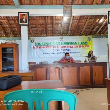 Sosialisasi dan Bimtek Kelompok Kerja Relawan Pendataan SDGs Desa Criwik